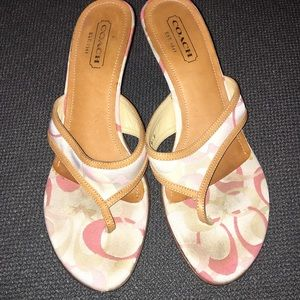 Coach kitten heel sandals size 8.5 pink